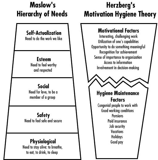 the similarities and differences between the theories of maslow and herzberg Maslow and herzberg theories of describe and compare the basic contributions of maslow and herzberg to the cultural similarities and differences.